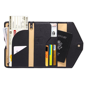 Zoppen passport wallet in black from Amazon filled with travel documents and credit cards. photo