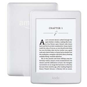 Kindle Paperwhite showing the front and back sides with a book on the screen from Amazon photo