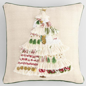 Christmas tree holiday throw pillow in cream from World Market. photo