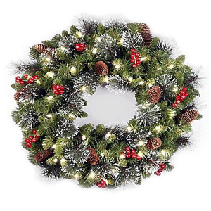 Pre-lit holiday wreath with red berries, pine cones, and