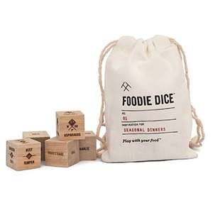 Wood dice with ingredients etched on them and gift pouch photo