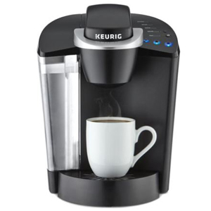Black Keurig coffee maker with three single serving sizes. photo