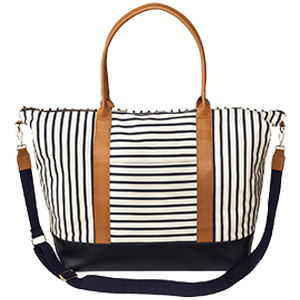 Navy and white striped weekender bag. photo