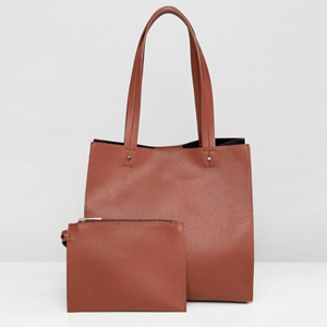 Brown tote with small brown bag. photo