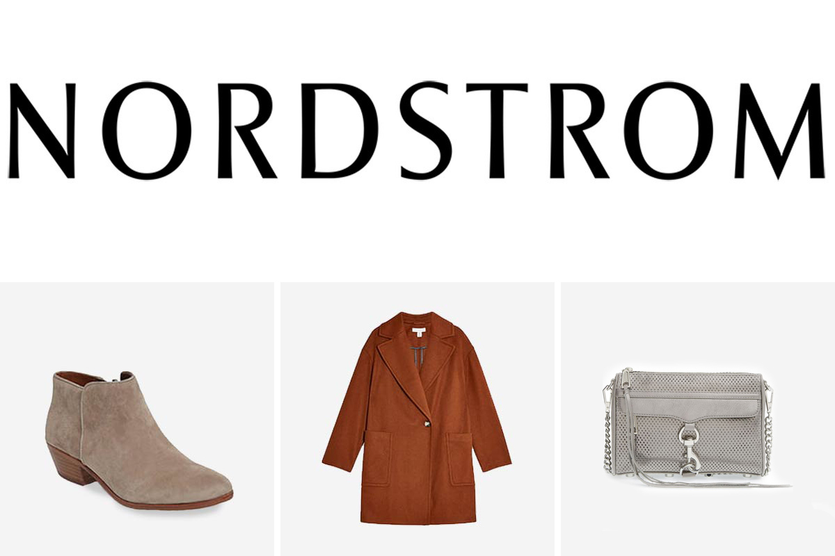 Nordstrom Black Friday sale including a booties, coat, and a crossbody purse. photo