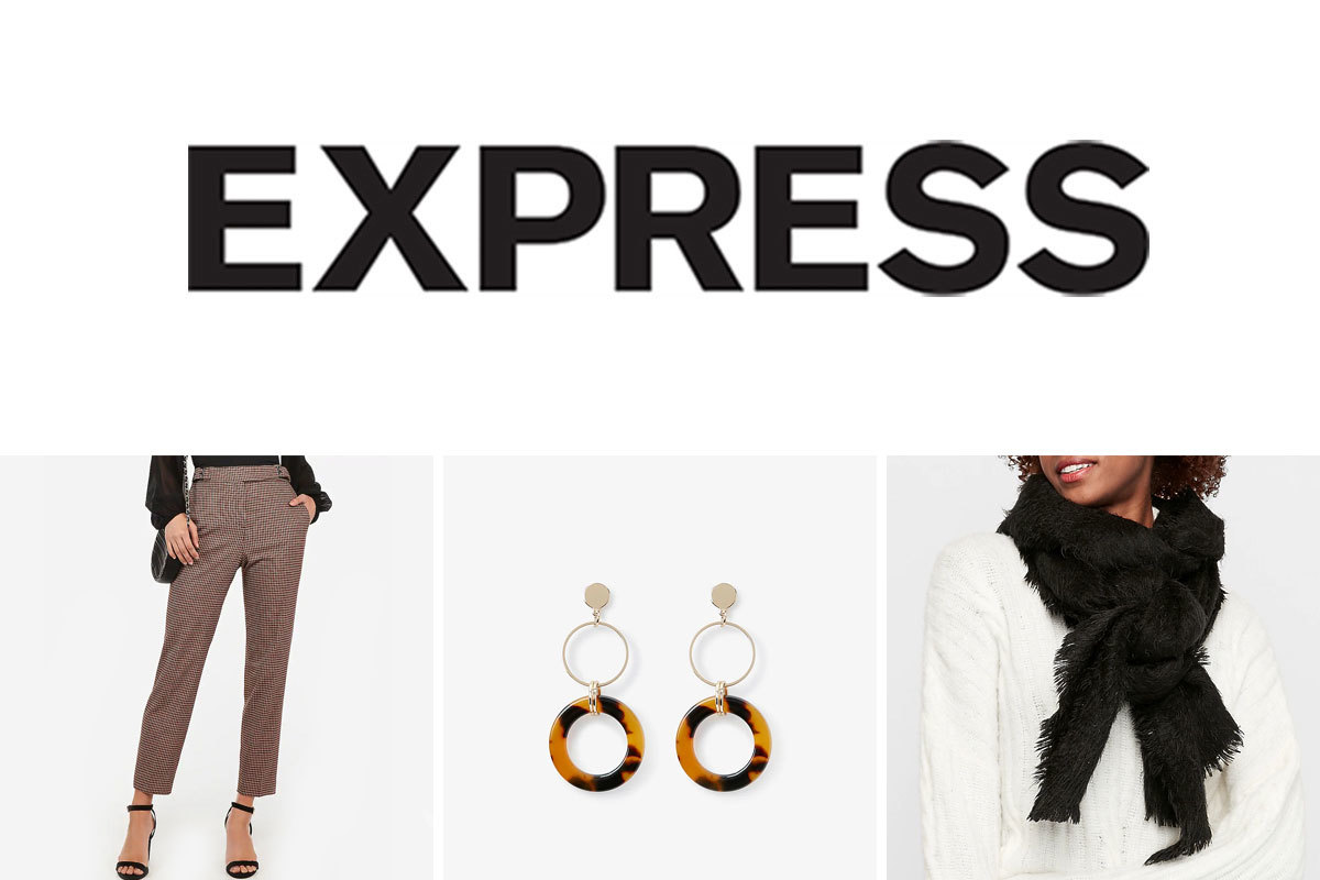 Express Black Friday deals including plaid pants, earrings, and scarf. photo