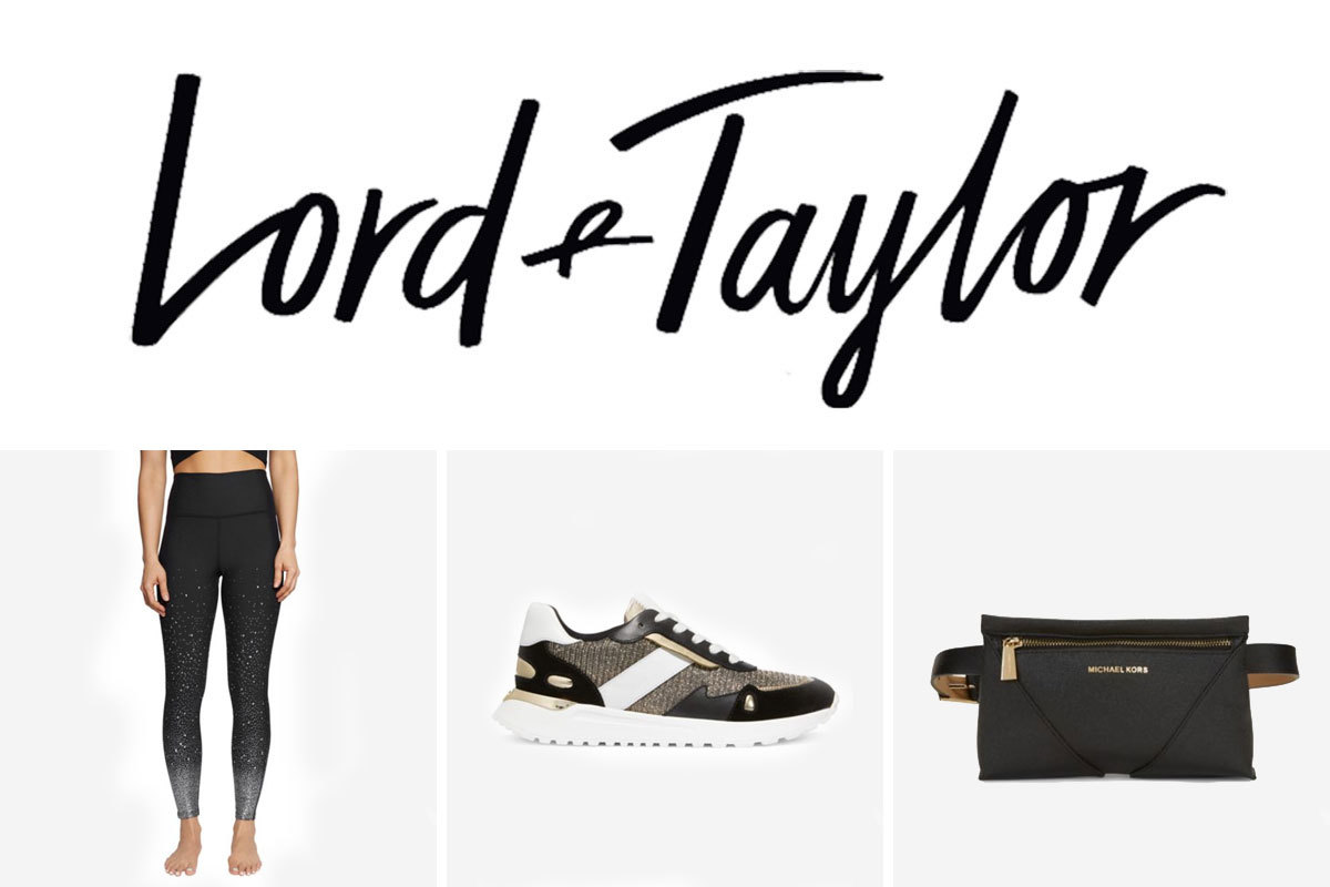 Lord and Taylor Black Friday sale including leggings, sneakers, and a fanny pack. photo
