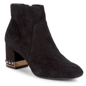 Black suede ankle boots with jewel details on the heel. photo