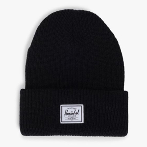 Black Herschel beanie with logo stitched to the front. photo