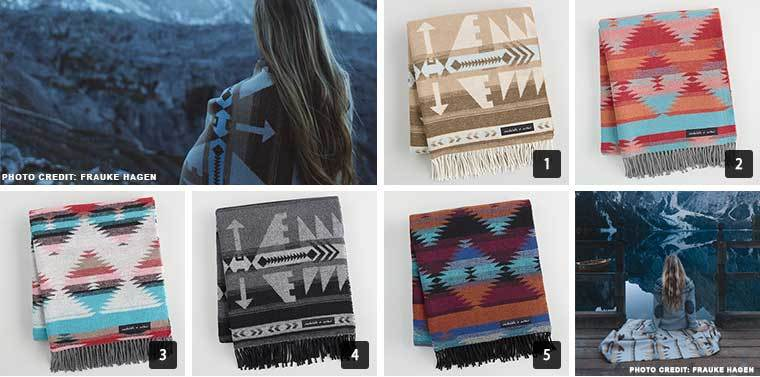 A collage of blankets from World Market in colorful Aztec prints photo