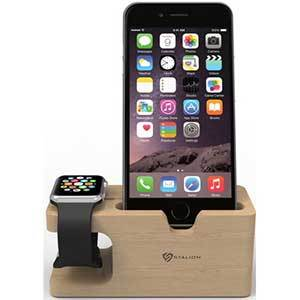 Bamboo wood charging dock for iPhone and Apple Watch photo