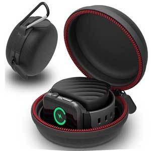 Portable charging dock for the Apple Watch in black and red photo