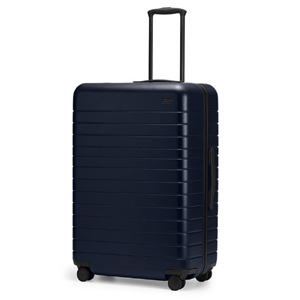 Navy hardshell Away Suitcase with lock on the top. photo