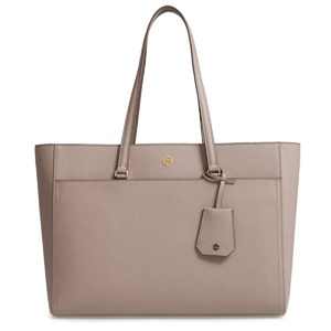 Tory Burch leather tote bag in gray photo