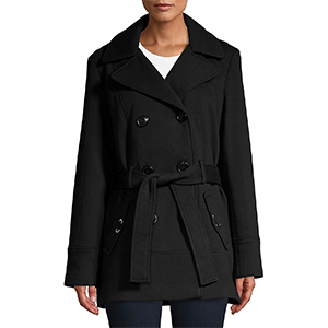 Model wearing a Lord and Taylor hooded coat in black photo