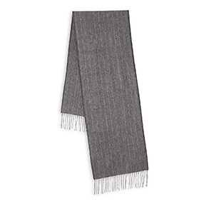 Lord and Taylor cashmere scarf in dark gray with white fringe trim photo
