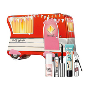 Benefit Cosmetics gift set with face primer, mascara, highlighter, and brow gel from Ulta photo