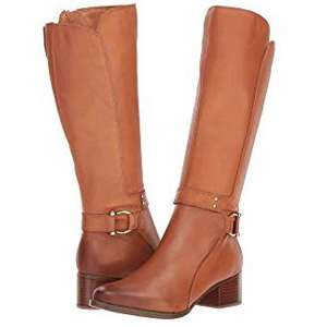Brown leather riding boots with gold accents. photo
