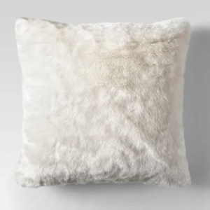 White faux fur oversized throw pillow from Target. photo