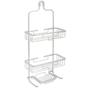 Aluminum shower caddy with two tieres that hangs over the shower head to save space. photo