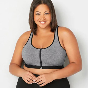 Gray plus-size sports bra with zip-up front. photo