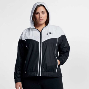 White and navy blue Nike plus-size jacket. photo