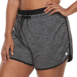 Gray and black plus-size running shorts. photo