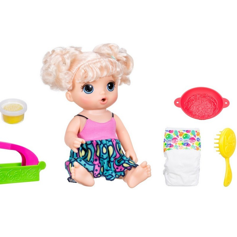 blonde hair Baby Alive doll with baby accessories from Target photo