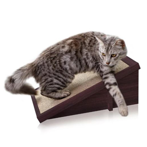 Raised scratching board for cats with replaceable inserts. photo