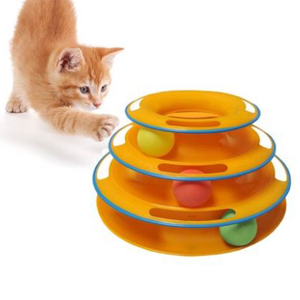 Interactive ball cat toy with three tiers and three balls. photo