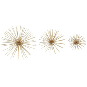 Three-piece wall decor set with various sizes of gold metal stars. photo