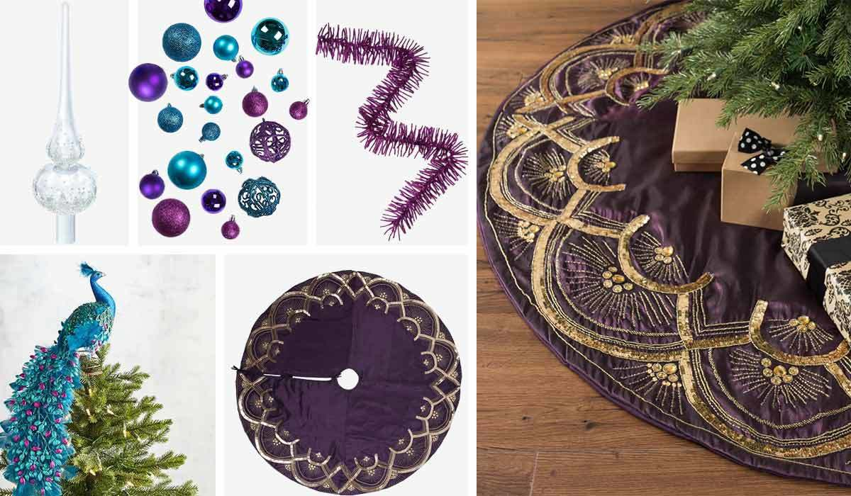Purple Christmas tree skirt, blue and purple ornaments, and crystal tree topper photo