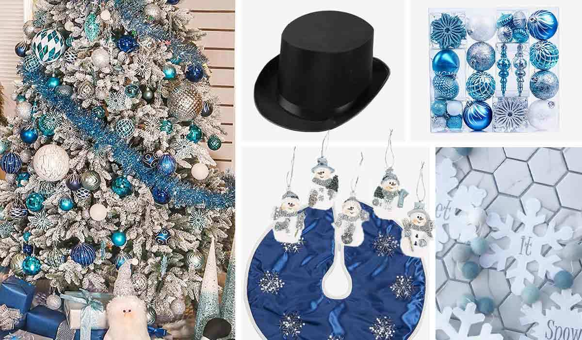Blue Christmas tree skirt, snowman ornaments, top hat, and let it snow garland photo
