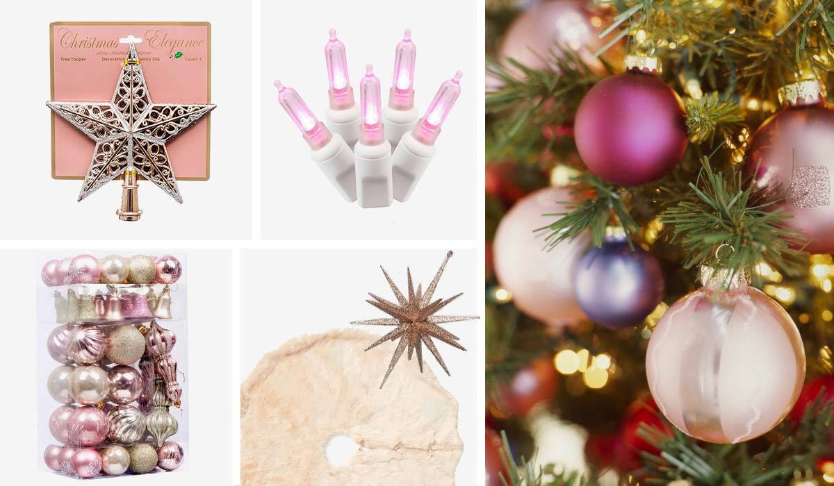 Pink Christmas tree with faux fur tree skirt, rose gold ornaments, and pink lights photo