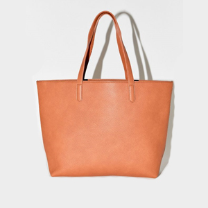 Brown Faux Leather Tote Bag photo