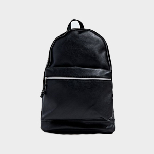 Faux leather backpack in black photo
