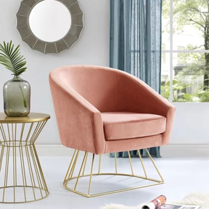 Blush pink velvet accent chair with a gold base. photo