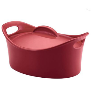 Red Rachael Ray casserole dish with a lid. photo