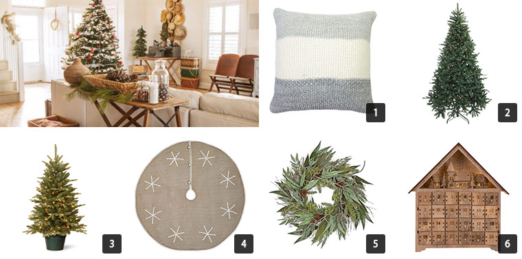 A collage of holiday home decor including a christmas tree, wreath, a pillow, a tree skirt, and more photo