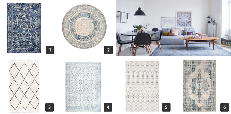 A collage of six area rugs in different shapes, sizes, and patterns photo