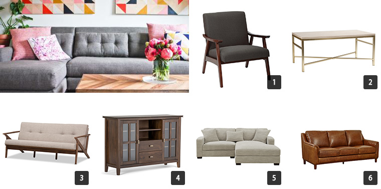 A collage of furniture including sofas, TV stand, coffee table, and a chair photo