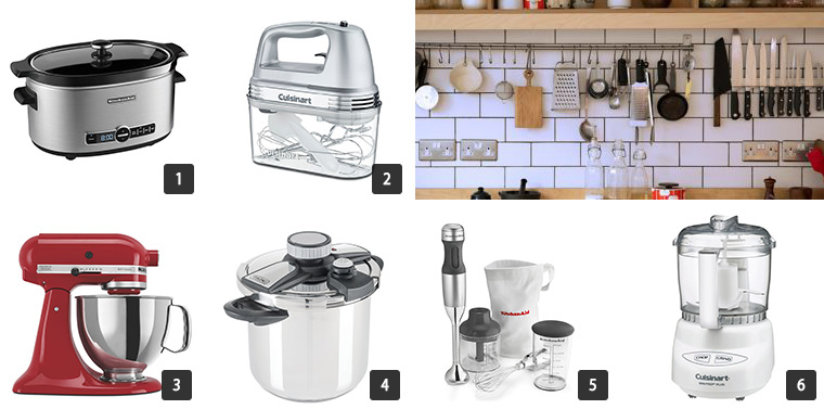 A collage of kitchen appliances like a KitchenAid mixer, slow cooker, blender, and more photo