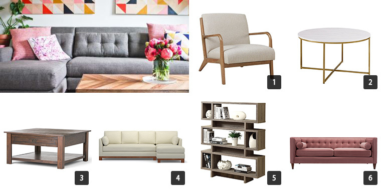 Collage of six images of Houzz Cyber Monday Sale on Furniture including chairs, sofas, and coffee tables photo