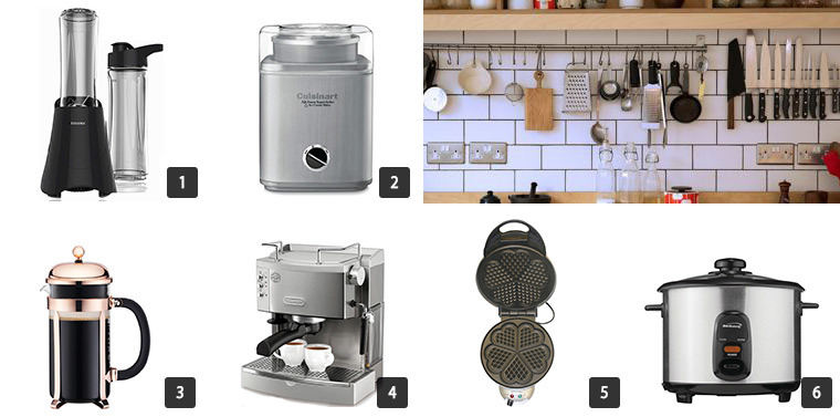 Collage of six photos of Houzz Cyber Monday Sale on Small Kitchen Appliances including a crock pot and espresso machine photo