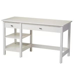 White office desk with two drawers and two shelves. photo