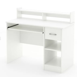 White office desk with two drawers and two shelves from Wayfair photo