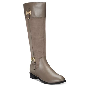 Gray Karen Scott riding boots with gold accents. photo