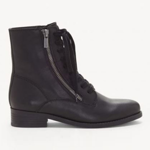 Black Hildran combat boots with a lace-up front and a zipper on the side. photo