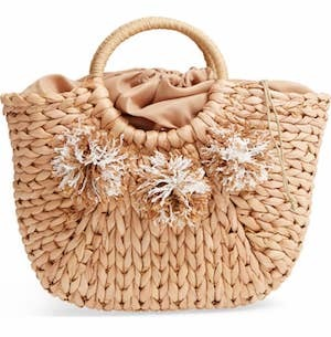 Street Level straw tote with pompoms Nordstrom Cyber Monday Sale photo