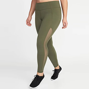 Plus-size leggings in olive green photo